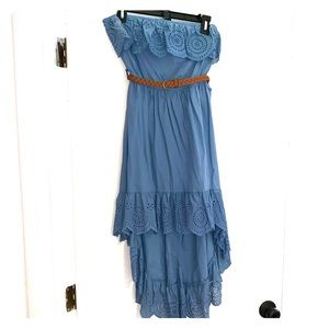 Size M Rue 21 Strapless Hi-Low Belted Dress